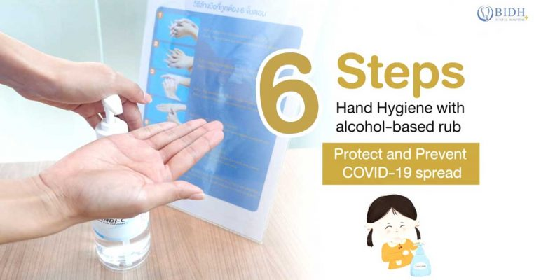 6 steps to hand hygiene with alcohol